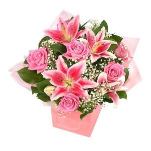 buket-bunga-lily-mawar-pink