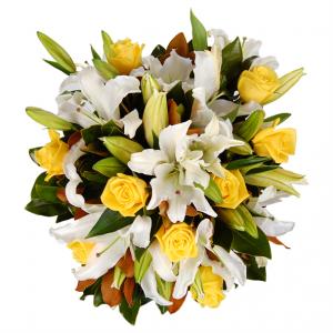 rangkaian-mawar-kuning-lili-putih