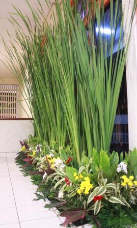 dekorasi pagar daun stok dan taman pernikahan