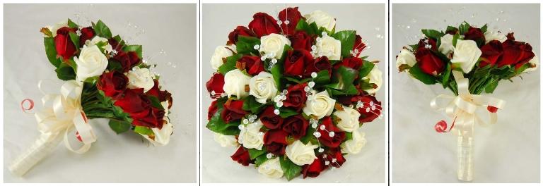 hand bouquet pengantin artificial mawar merah putih