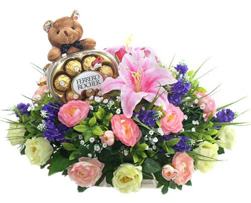 rangkaian-bunga-meja-artificial-coklat-boneka