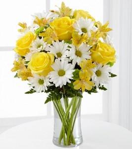 karangan bunga hari ibu mawar kuning, gerbera putih