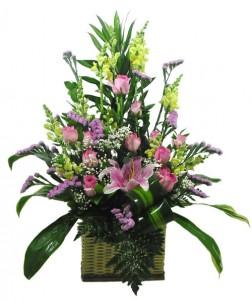 rangkaian-bunga-lily-mawar-pink-snape-dragon