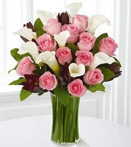 vas bunga hari ibu mawar pink calalily putih