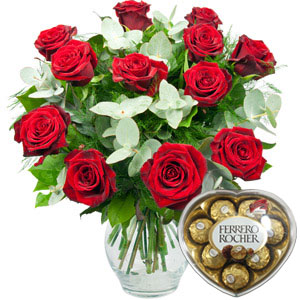 hadaiah bunga mawar merah valentine day coklat