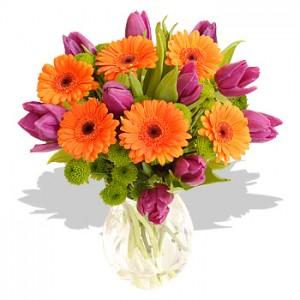 vas bunga gerbera orange tulip ungu