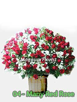 Buket Bunga Meja 04 Many Red Rose