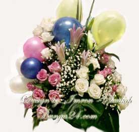 Kirim Bunga Meja Dengan Hiasan Balon Ucapan Ulang Tahun