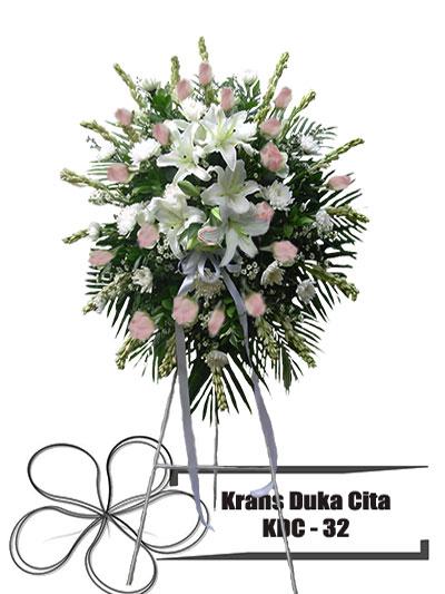 krans-duka-cita-bundar-putih-pink-bunga-KDC 32