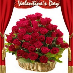 rangkaian bunga mawar merah valentine
