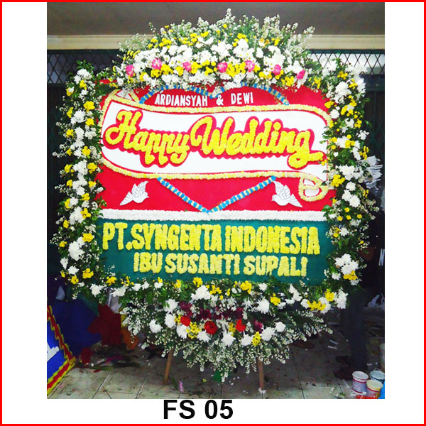 Karangan bunga papan wedding FS 05
