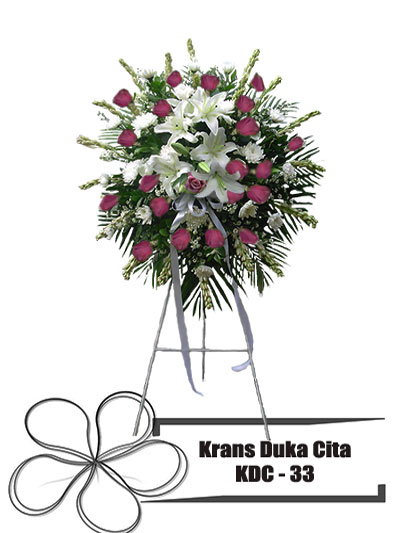 krans-duka-cita-bundar-putih-ungu-bunga-KDC 33